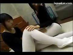 Young Girl In Aerobics Dress Getting Her Pussy Licked Through Pantyhoses On The Mattress