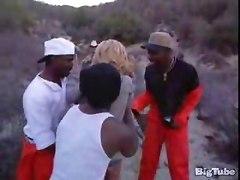 Black Dicks Fuck While Babe In Gang Bang