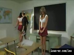 Lesbian Teacher Spanks Her Naughty Students!