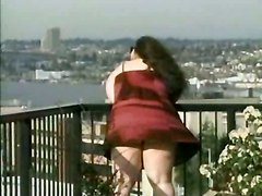 Chubby Brunette Teases On Roof Top