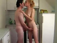 Amateur Wife Sucking And Fucking In The Kitchen
