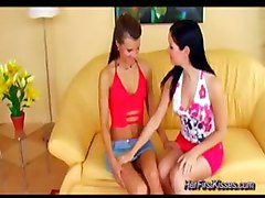 Beauty Lesbians Dildoing Pussy And Licking Wet Labia