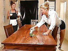 Sexy Chicks In Maid Uniforms Undress And Fuck On Table
