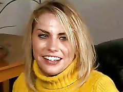 Sexy Blonde With Big Tits Fucks In Yellow Sweater And Shaved Pussy
