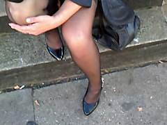Waiting For Bus In Stockings