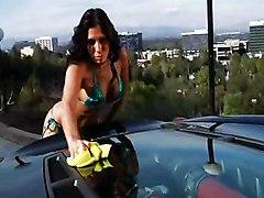 Hot Car Wash Babe Gets It Hard