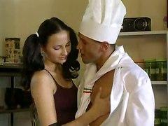 Slippery Anal Kitchen Threesome
