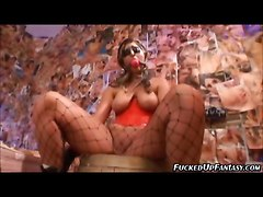 Hot Girl In A Gag And Latex Is Used Sexually