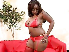 Chubby Ebony Slut In Lingerie Takes On Two Cocks