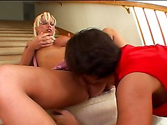 Two Naughty Bimbo Babes Pampering Dick