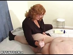 Teacher Lady Stroking The Smallest Cock Ever