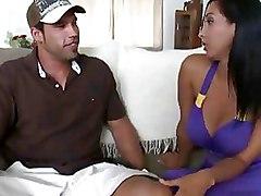 Big Boobed Hottie In Purple Dress Sucks Dick