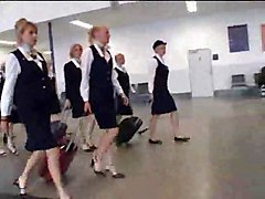 Really Busty Stewardess Giving Handjob In The Public