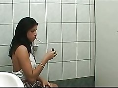 Slutty Young Babe Blows Huge Dick In The Toilet