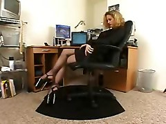 Horny Secretary  Black Pantyhose High Heels Solo