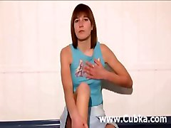 Bored Russian Chick Strips On A Floor