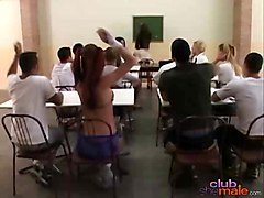 Hot Shemale Classroom Threesome Orgy