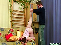 Acrobatic Babe Sucks Cock Upside Down