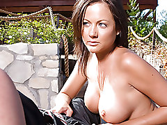 Busty Babe Jerks Off Outdoors