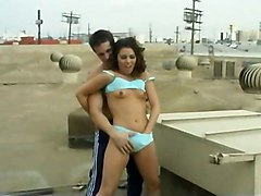 Ashley Blue Pussy Spanked On The Roof
