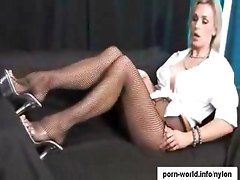 Tanya Tate Footjob In Fishnets