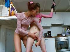 Young Lesbian Bound 1 ... Kinky Playing With Glass Dildo