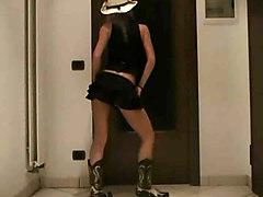Amateur Italian Cowgirl Striptease