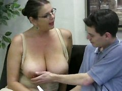 Busty Tutor Makes Handjob For Lad Dick