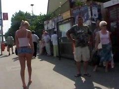 Nude In Public Blonde British Slut