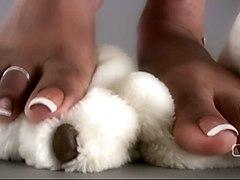 Darla Tv   Darla Tramples Teddy Bear With Sexy Ebony Feet