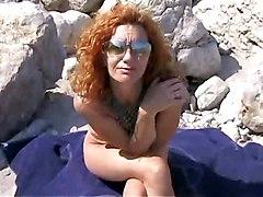 Hot Redhead Milf Banged On The Beach