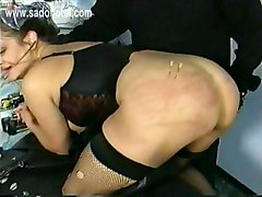 Crying Slave Sitting On A Motorcycle Got Large Needles In Her But And Is Spanked On Her Ass