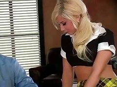 Schoolgirl Drilled In Principals Office
