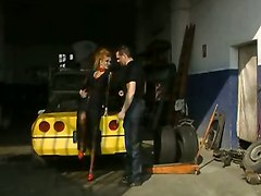 Sexy Whore Fucks With Dude In The Garage