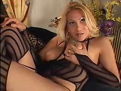 Sexy Blonde Shemale Shoots Huge Load