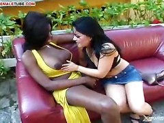 Black Shemale Fucks Girl Pussy
