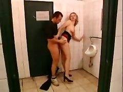Blond Fuck Outdoor Toilet