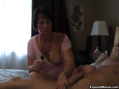Busty Mom Jerking A Hard Cock