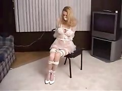 Blonde Lingerie Model Bound & Gagged
