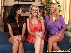 Brianna Beach, Veronica, Alana Tease A Nerds Lucky Cock