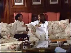 Ebony And Brunette Wife Destroy Husband