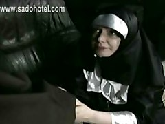Bend Over Nun Got Her Skirt Up And Spanked On Her Ass By Older Priest